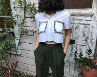 Vintage 90's Cropped Blouse With Shag Features (Size XS/S)