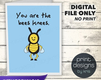 Printable Bees Valentines Day Card - Printable Card - Valentines Day Card - Bees Knees Card - Instant Download Folded Card