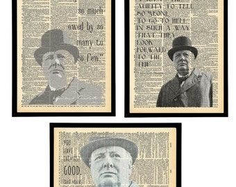 Vintage Winston Churchill speech quotes. Churchill Typography prints artwork. Churchill Speeches. Vintage Print Pack