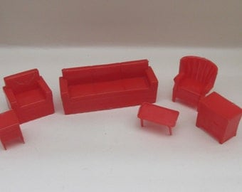 Vintage 1960s Red Marx Plastic Dolls House Furniture - Lounge/Living Room Set