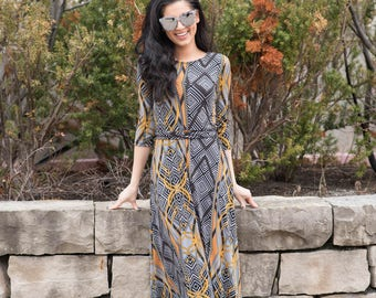 Maxi dress pattern, Modest dress, Maxi dress with sleeves, Robe, Modest clothing,Printed maxi dress, Casual Dress, Tznius, Modest dresses