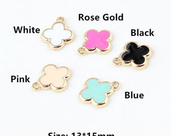 10Pcs Golden Tone Lucky Clover Charms,Cross Pendant for diy Bracelet Necklace making Leaf Charms Accessories