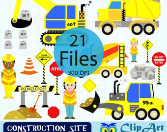 CONSTRUCTION CLIPART ~  Digital Clipart Set, construction site, dumper clipart, bulldozer clipart, cement mixer clipart, digger clipart