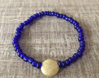 Sun and Sky Cobalt Blue Seed Bracelet, Sun Bracelet, Blue Bracelet, Beach Jewelry