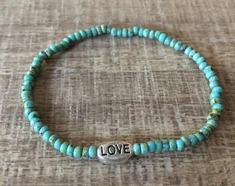 Beach bracelet, Love Turquoise Beads, Picasso Beads Bracelet, Beach Jewelry