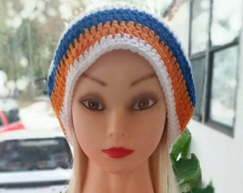 Blue and Orange Crochet Beanie (Hat)/Handmade