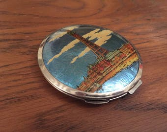 Vintage Blackpool Tower compact with mirror