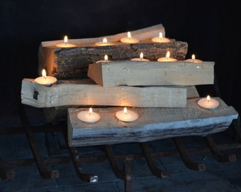 Log Fire Candle Holder