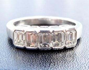 Platinum & emerald cut diamond five stone, emerald cut diamond wedding ring, emerald cut diamond eternity ring, emerald cut engagement ring