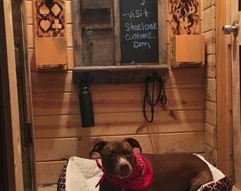Rustic Home Decor Chalkboard Organizer, Key & Coat Hangers, Shelf, Mail Storage