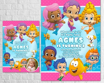 Bubble Guppies Invitation, Bubble Guppies Invites, Bubble Guppies Printables, Bubble Guppies Party, For Boys and Girls, Thank You Card