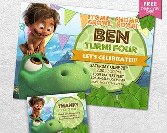 The Good Dinosaur Invitation, The Good Dinosaur Birthday Party, Green Dinosaur, Arlo Invitation, Good Dinosaur Invites, Printable Invitation