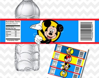 Mickey Mouse Water Bottle Labels, Mickey Mouse Clubhouse Water Bottle Labels, Mickey Mouse Clubhouse Birthday, Party Printables, Bottles