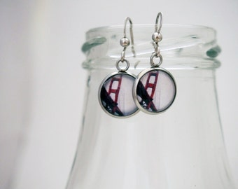 Earrings with glass cabochon - 12mm - Stainless steel - 012 - Golden Gate Bridge