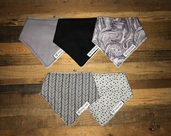 Assorted Black and Grey Bandana Bibs, Set of 5