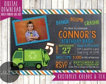 Garbage Truck Birthday Invitation, Trash Truck Invite, Photo - Printable DIY
