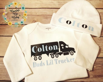 Newborn Personalized Monogramed Trucker Coming Home Going Home Baby Boy Onesie Bodysuit With Matching Hat