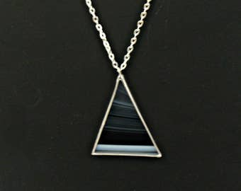 Black Stained Glass Triangle Necklace