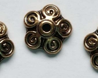 10mm antique copper round filigree bead cap 10 bead caps