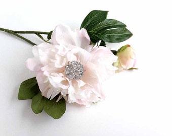 Silk Flower Blush Peony Bouquet Pink Rhinestone