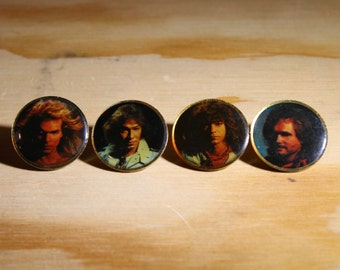 VAN HALEN PIN - Rare Pin Set: Vintage David Lee Roth / Alex Van Halen / Eddie Van Halen / Michael Anthony - Awesome Gift!