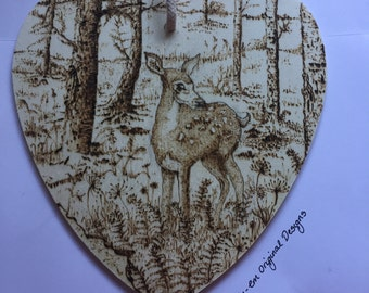 Deer in the forest pyrography wooden wall heart