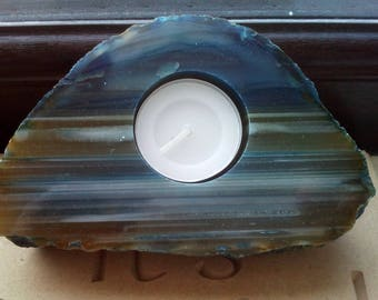 Blue Agate Slice Tea-Light Holder Candle Holder Gift
