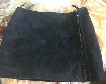 Size 12 navy suede skirt with hook & eye fastenings