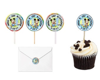 30 Baby Mickey Mouse Lollipop labels, Cupcake Toppers, Stickers, Favors, Envelope Seals, Personalized Any Variety (Changes OK) FREE SHIPPING