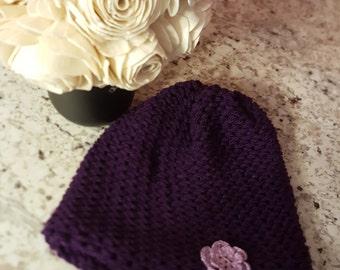 Lightweight beanie, purple beanie, crochet flower