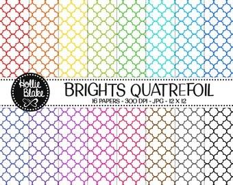 50% off SALE!! 16 Bright Quatrefoil Digital Paper • Rainbow Digital Paper • Commercial Use • Instant Download • #QUATREFOIL-101-1-B