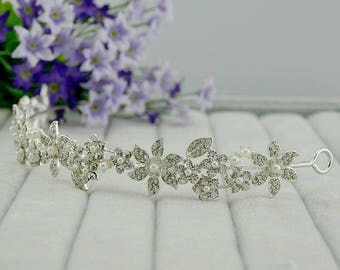 Bridal Headband- Princess Pearl, Thin Crystal Tiara Headband, Swarovski Crystal Bridal Ribbon Tiara, Wedding Tiara, Diamante Tiara