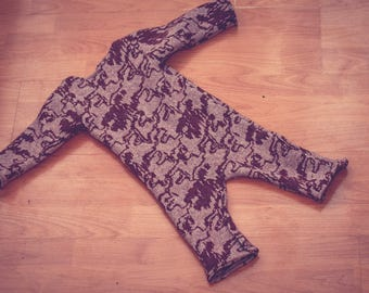 Abstract Maroon and Mauve 100% Merino Wool Snuggle Suit Coverall 3-9 months