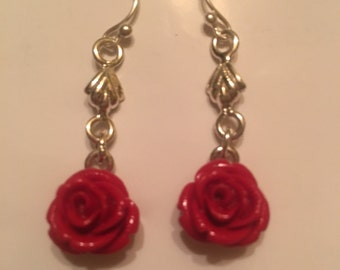 Beautiful hand carved red coral earlings