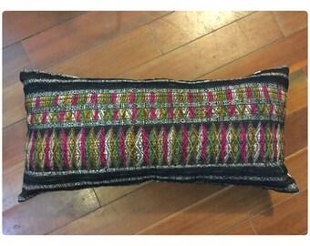 Vintage Handmade Hmong Tho handwoven silk cotton pillow cover