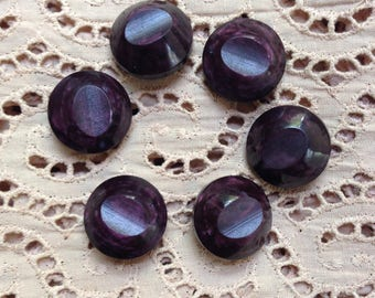 6 vintage grape purple metal shank buttons c1940s