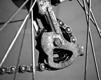 Gear; Industrial; Bike; Bicycle; Cog; cassette; cycle; cyclocross; spokes; chain; wheel; black white; modern wall art; garage; bedroom