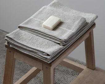 Waffle Linen Towel, Linen Guests Towel, Linen Hands Towel, Natural Linen Face Towel, Natural Linen Bath Towel, Linen Cotton Sauna Towel,