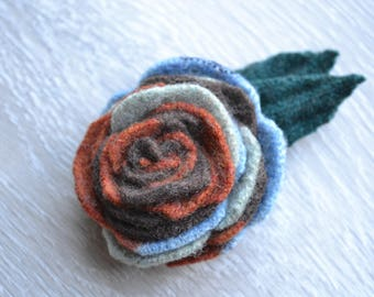 Handcrafted Felt Brooch - Rose