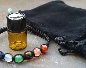 7 Chakra Balancing Bead Bracelet with FREE Essential Oil in a Black Velvet Gift Bag/Reiki charged/Yoga bracelet/Ships Same Day