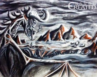Dragonscape Dragon Landscape Charcoal Original Graphic Design Digital Art Print