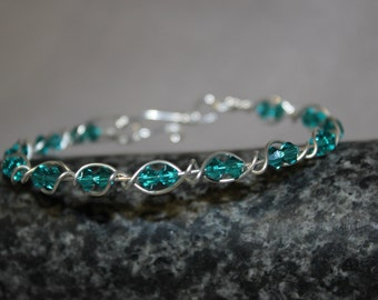 Clara Sterling Silver Blue Zircon Swarovski Crystal Bracelet