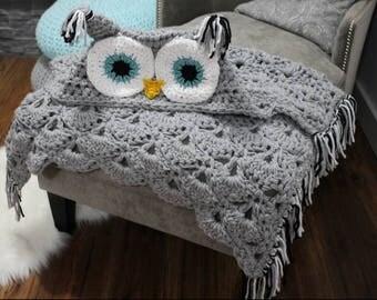 Bulky Hooded Owl Blanket, Crochet Bulky Hooded Owl Blanket, Hooded Owl Blanket, Made to Order Owl Blanket, Owl Blanket