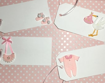 Baby Shower favor tags, Baby Girl Gift Tags, Pink, stork, booties, onesie, bib - 8 in one order