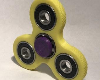 Fidget Spinner / Fidget Toy / Hand Spinner / Tri-Spinner / Purple on Yellow