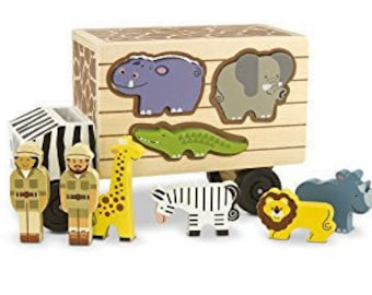 Personalized Zoo Rescue Wooden Toy Puzzle Bus