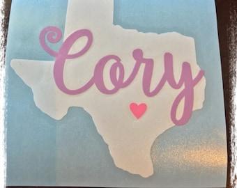 Texas Name Decal