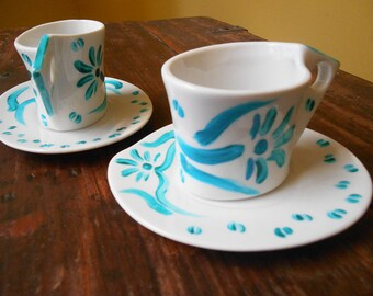 Coffee set duo-turquoise floral