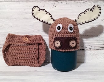 Moose - Moose Hat - Moose Diaper Cover - Moose Set - Hat - Diaper Cover - Newborn Photo Prop - Newborn - Newborn Photography