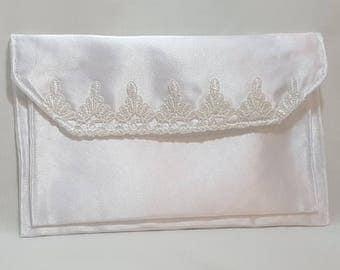 Satin clutch - White Satin - Purse clutch - 3 pocket clutch - Satin 3 pocket clutch - Satin evening bag - White satin brides clutch
